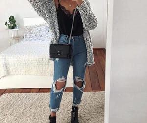 jeans, outfit, and cardigan image