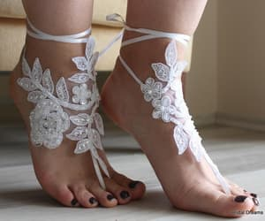 bridesmaid, bridal barefoot, and wedding anklet image