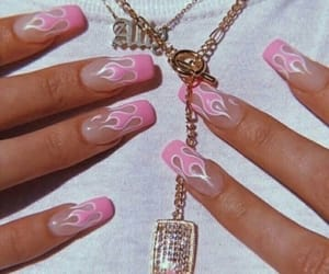 nails, pink, and flames image