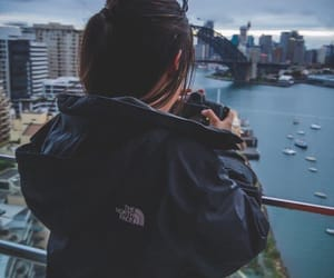 girl, city, and camera image
