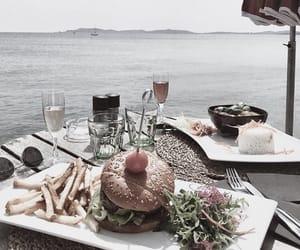 drinks, food, and ocean image