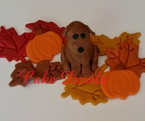 birthday cake, edible cake topper, and fallleaves image