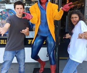 zendaya, tom holland, and spiderman image