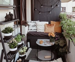 balcony, plants, and pillow image