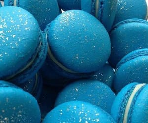 blue, sweets, and blue macaroons image