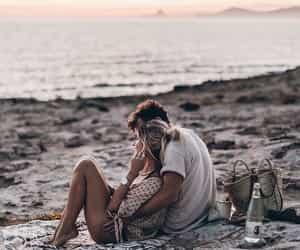 beach, couple, and lové image