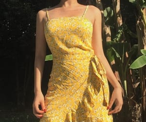 dress, outfit, and yellow image