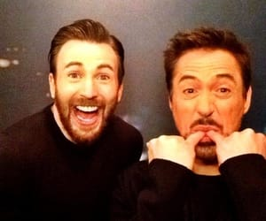 chris evans, robert downey jr, and Avengers image