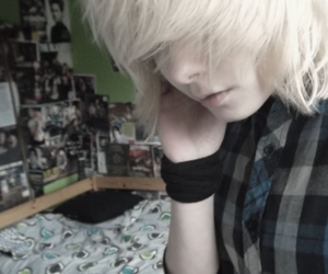 white hair, cute emo boy, and black band image