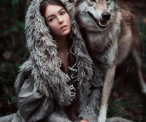 beauty, wolf, and woman image