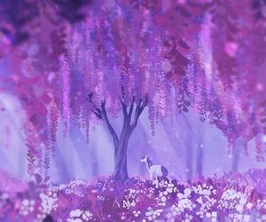 illustration, purple, and landscape image