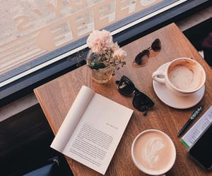 book, cafe, and cappuccino image
