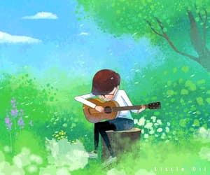 gif, guitar, and spring image