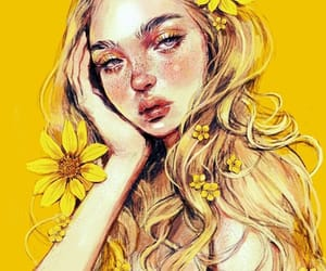 art, yellow, and drawing image