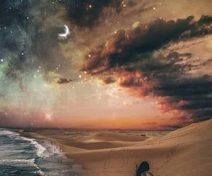 beach, sky, and stars image