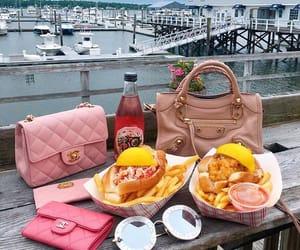 breakfast, handbag, and seafood image