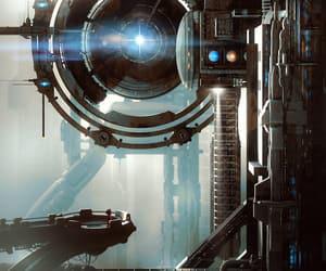 city, future, and portal image