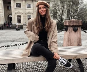 beret, jeans, and knitwear image