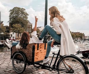 bicycle, friends, and girls image
