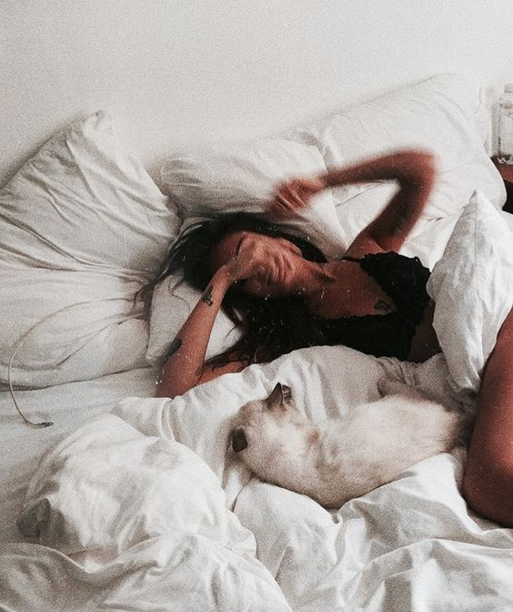 Image de bed, girl, and animal