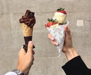 food, ice cream, and strawberry image