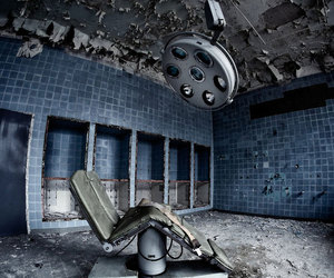 abandoned building, couch, and dentist image