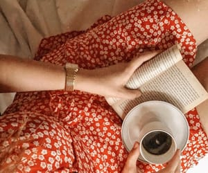 book, coffee, and dress image