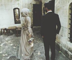hijab, couple, and islam image