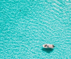 blue, bora bora, and boat image