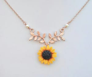 sunflower, necklace, and flowers image