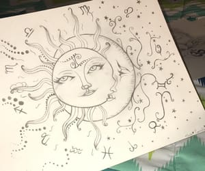 astrology, drawings, and moon image