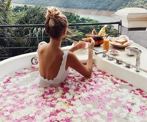 girl, travel, and flowers image