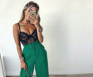 bodysuit, outfit, and green image