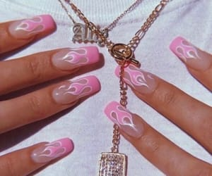 nails, pink, and flame image