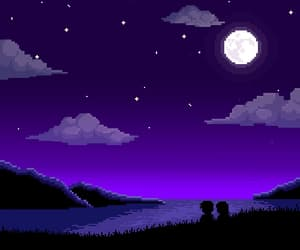 8-bit, purple, and clouds image
