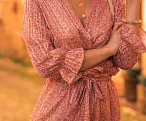 boho, pleats, and floral pleated dress image