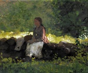 girl, shade, and rock wall image