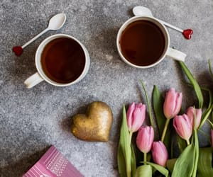 books, coffee, and pink tulips image