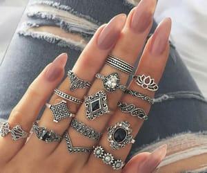 nails, rings, and boho image