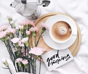 coffee, morning, and flowers image