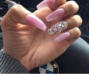 bling, nails, and pink image