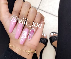 bling, initial, and nails image