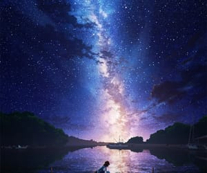 anime, scenery, and stars image