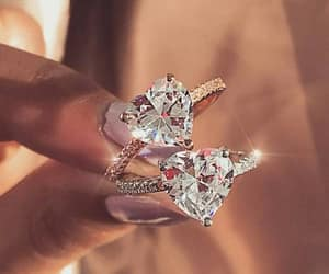 diamonds, engagement ring, and gold image