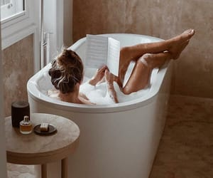 girl, bath, and book image