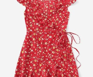 dress, floral dress, and red image