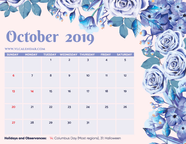 photograph relating to Blank October Calendar Printable named Oct 2019 Calendar Printable Templates upon We Centre It