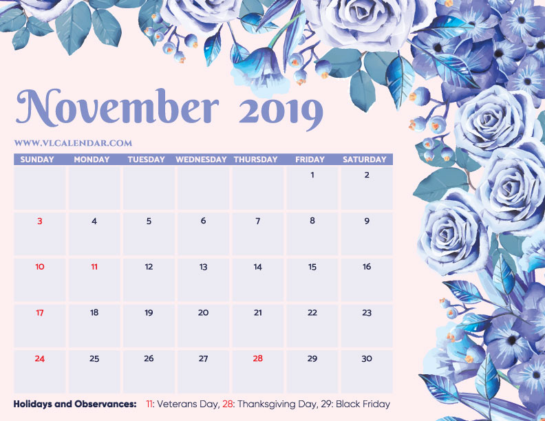 graphic relating to Blank November Calendar Printable titled November 2019 Calendar Printable Templates upon We Middle It