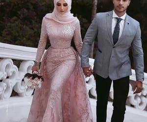 wedding, couple, and hijab image