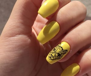 nails, yellow, and nails inspiration image